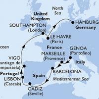 MSC MERAVIGLIA - Gyönyörű strandok, festői városok, történelmi helyek Genovatól Hamburgig
