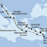 Ciprus és Izrael Repülős hajóút Magyar idegenvezetővel! MSC Meraviglia